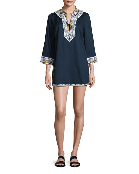 Tory Burch Embroidered 3/4-Sleeve Cotton Coverup Tunic, Tory
