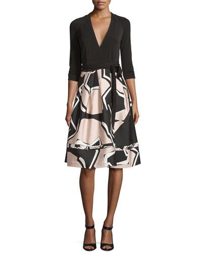 New Jewel Wrap Dress w/Mikado Skirt, Black/Pommeau Grande