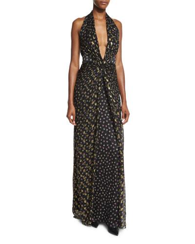 Evelina Metallic Floral-Print Maxi Halter Dress