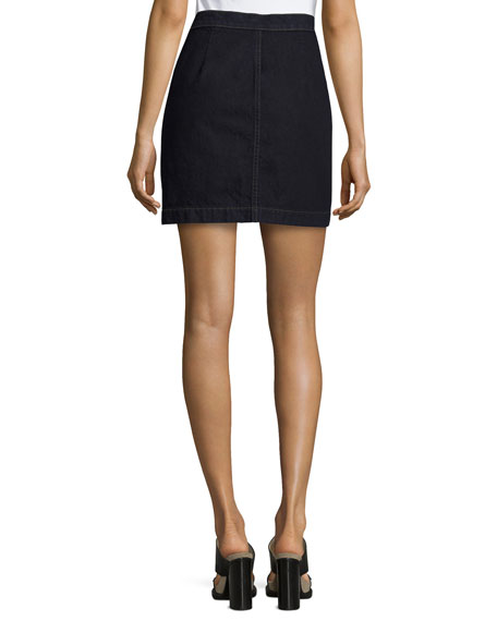 J Brand Ashlyn Side-Button Denim Mini Skirt