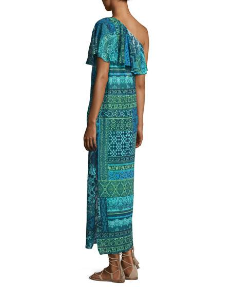 Lace-Print Mosaic One-Shoulder Maxi Dress
