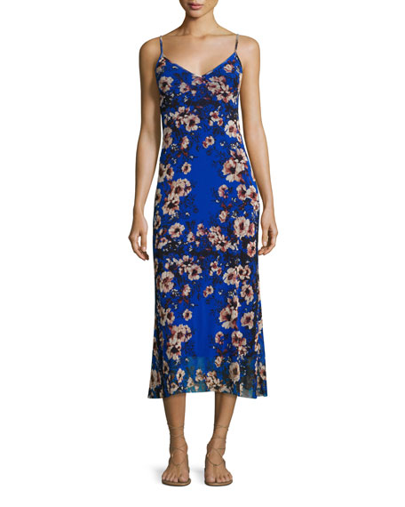 Fuzzi Floral-Print Slip Dress, Bluette