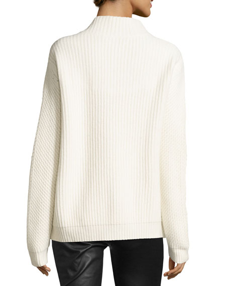 Jayleen Chunky Funnel-Neck Sweater, Ivory