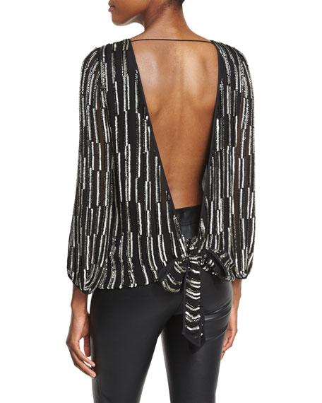 Evvy Sequined Tie-Back Silk Blouse, Black/Silver/Black