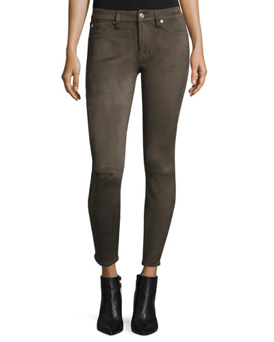 Knee-Seam Sueded Skinny Jeans, Olive
