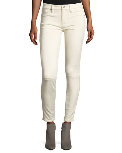 Knee-Seam Sueded Skinny Jeans, Open White