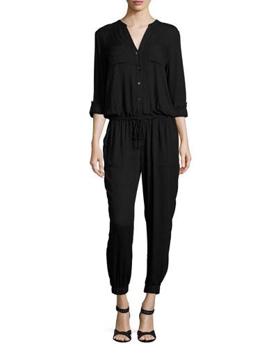 Sola Long-Sleeve Jersey Jumpsuit, Caviar