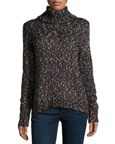 Farika Turtleneck Sweater, Heather Caviar