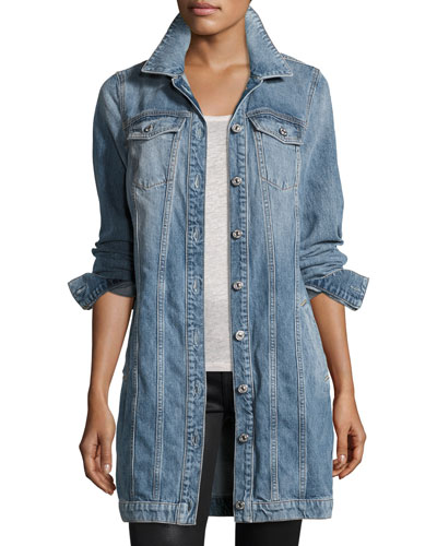 Long Trucker Denim Jacket, Light Brighton Blue