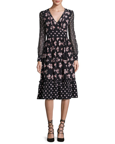 kate spade new york long-sleeve floral silk midi dress, black