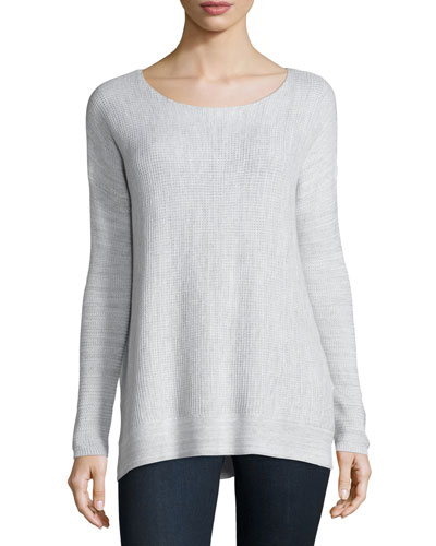 Kashani Boat-Neck Waffle-Knit Sweater, Porcelain/Light Gray
