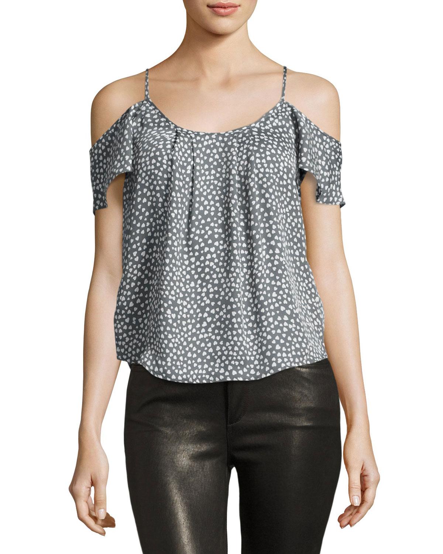 09e3e96c8b5af Joie Adorlee Cold-Shoulder Heart-Print Silk Blouse