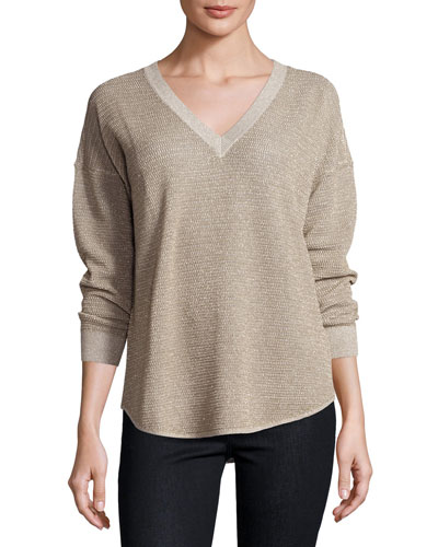 Chyanne Metallic V-Neck Sweater, Mushroom/Bronze