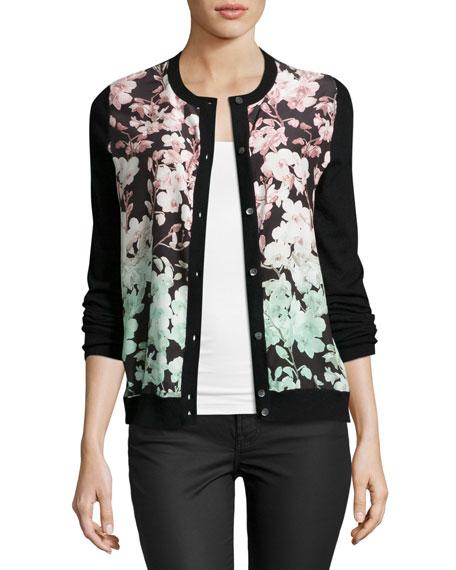 Floral Silk-Front Cashmere Bomber Cardigan