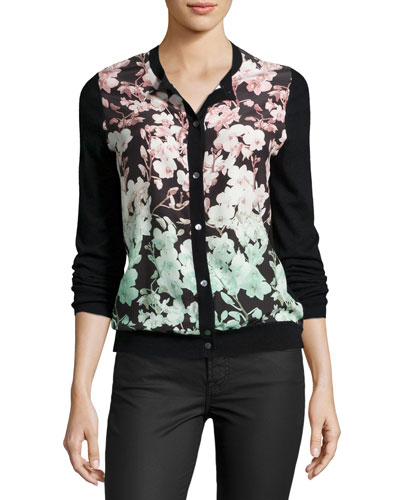 Floral Silk-Front Cashmere Bomber Cardigan