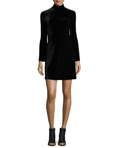 Cursa Velvet Mini Dress, Black
