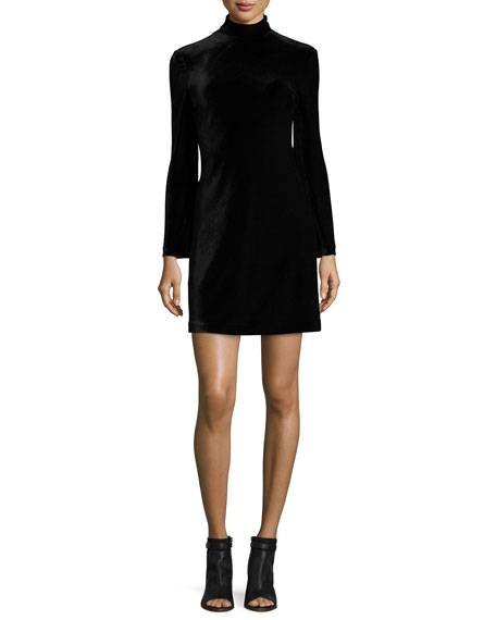 Cursa Velvet Mini Dress, Black