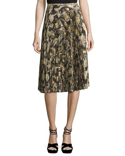 Sunburst Flare Pleated Paisley Midi Skirt, Camo