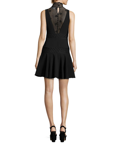 Concordia Sleeveless Fit & Flare Dress, Black
