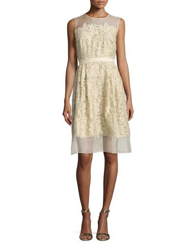 Sleeveless 3D Floral Cocktail Dress, Gold