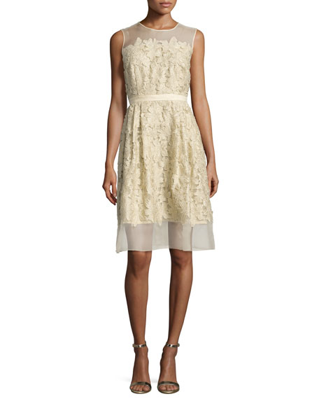 Carmen Marc Valvo Sleeveless 3D Floral Cocktail Dress,
