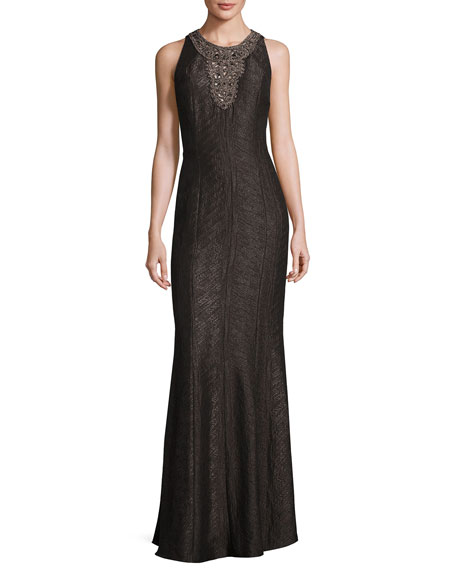 Carmen Marc Valvo Sleeveless Embellished Jacquard Gown, Pewter