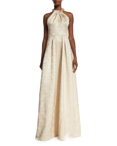 Beaded-Neck Jacquard Ball Gown, Gold