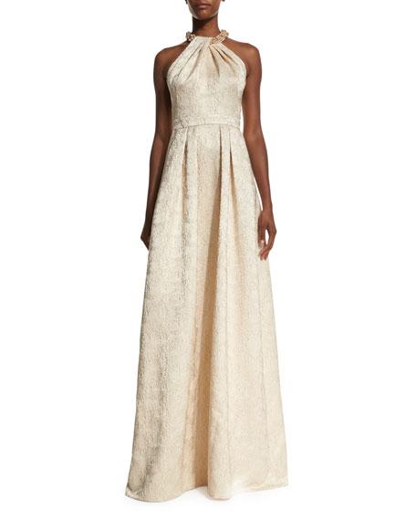 Carmen Marc Valvo Beaded-Neck Jacquard Ball Gown, Gold