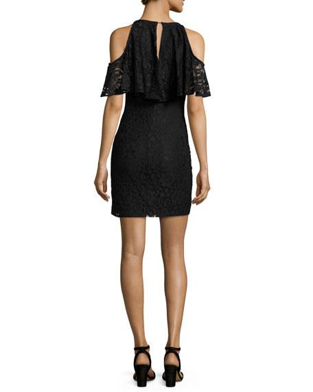 Cold-Shoulder Lace Mini Dress, Black