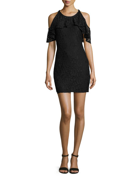 Ella Moss Cold-Shoulder Lace Mini Dress, Black