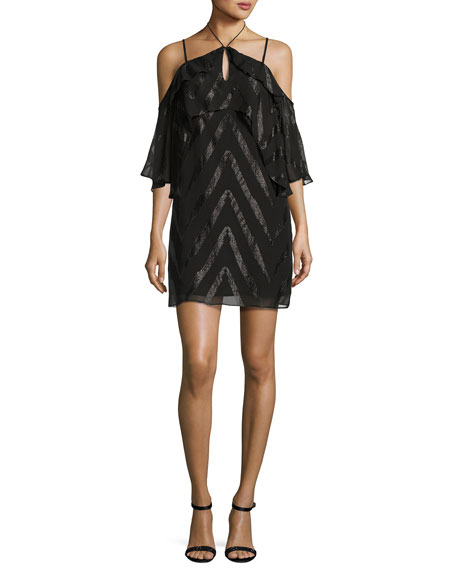 Ella Moss Dinah Double-Ruffle Cold-Shoulder Dress, Black