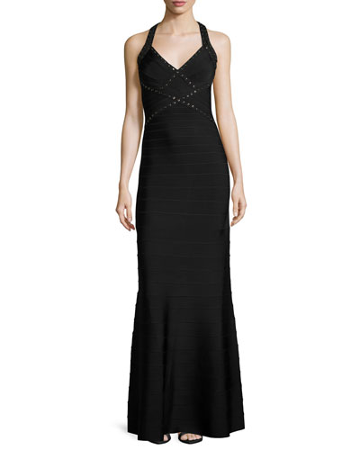 Open-Back Grommet Fit-&-Flare Gown, Black/Combo