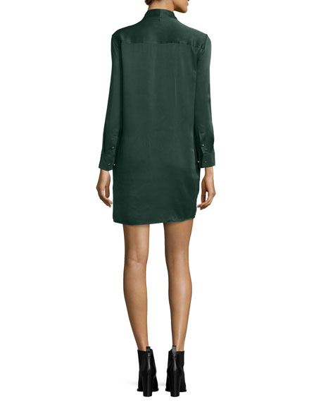 Leema Tie-Neck Silk Shift Dress, Scarab