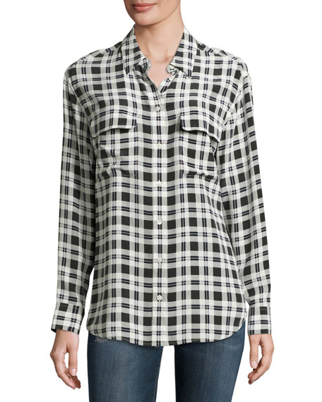 Signature Plaid Long-Sleeve Silk Shirt, Nature White Multi