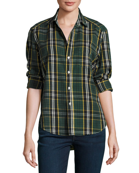 Frank & Eileen Eileen Plaid Button-Front Shirt, Green/Yellow