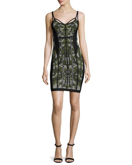 Herve Leger Camouflage Sleeveless Bandage Dress, Green