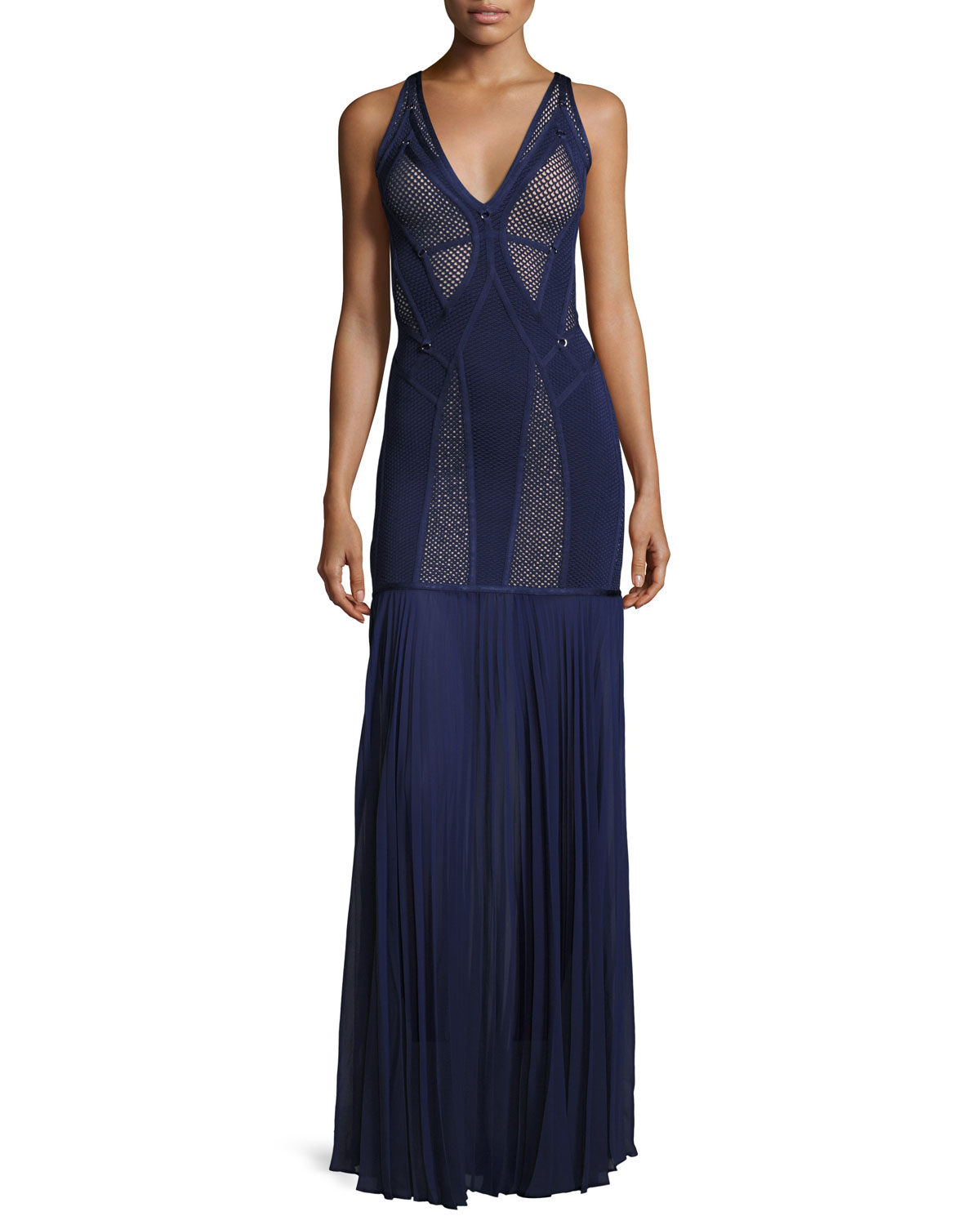 Herve Leger Sleeveless Mesh-Inset Bandage Gown, Classic Blue ...