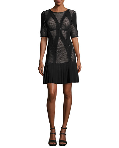 Half-Sleeve Mesh-Inset Drop-Waist Dress, Black/Combo