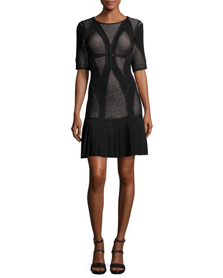 Herve Leger Half-Sleeve Mesh-Inset Drop-Waist Dress, Black/Combo