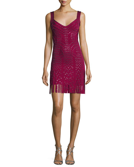Herve Leger Sleeveless Grommet Fringe-Skirt Bandage Dress, Dark