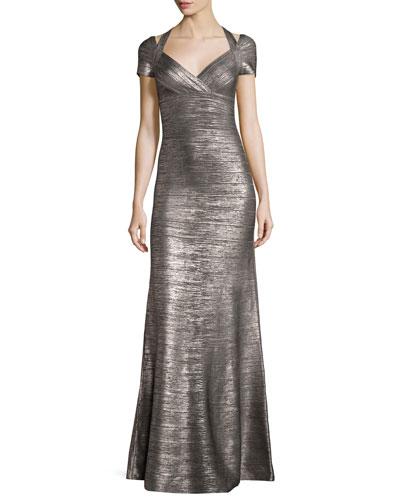 Colette Woodgrain Foil Bandage Gown, Gunmetal Combo
