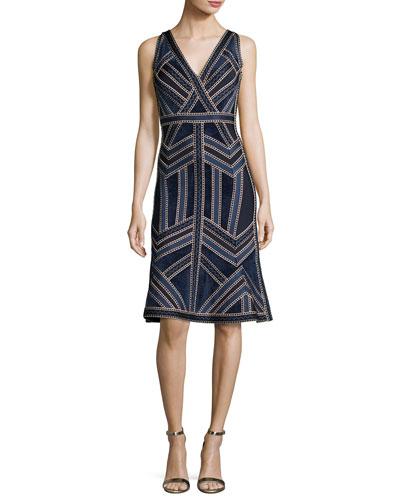 Sleeveless Deep-V Jacquard Flounce Dress, Indigo/Combo