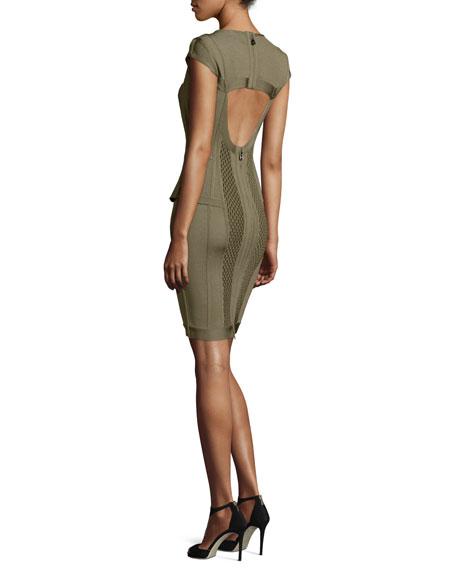 Open-Back Peplum Bandage Dress, Green