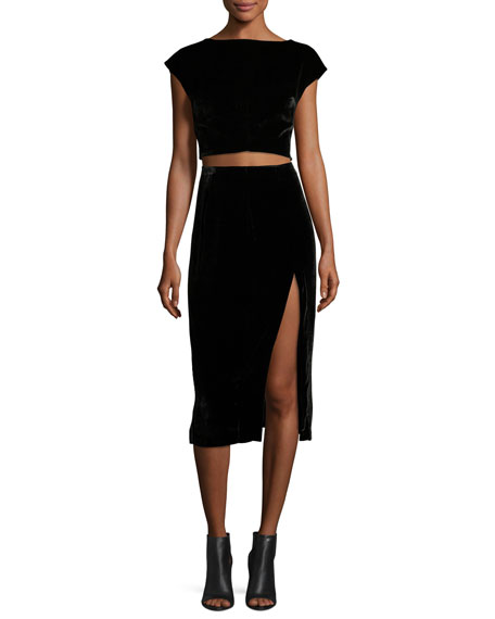 Velvet Slit Midi Skirt, Black