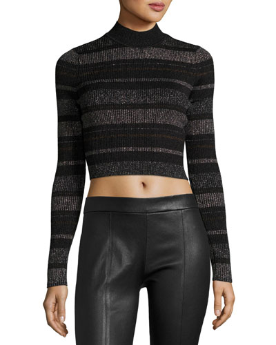 Metallic Striped Open-Back Mock-Neck Crop Top