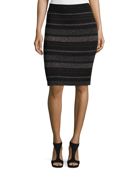 Kendall + Kylie Metallic Striped Pencil Skirt