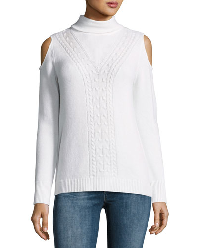 Cable-Knit Cashmere Cold-Shoulder Sweater, Blanc