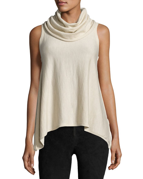 Sharry Sleeveless Turtleneck Pullover, Cream