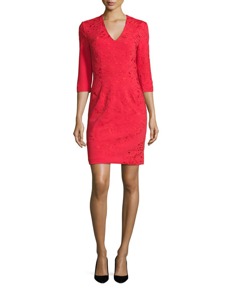 3/4-Sleeve Embroidered Ponte Sheath Dress, Red
