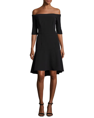 Nina Off-the-Shoulder Fishtail Dress, Black